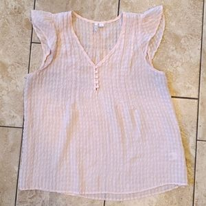 3/$15 pink tank top with ruffle sleeve
